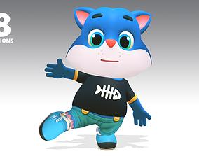 3D asset Cat Kitten Animated Rigged