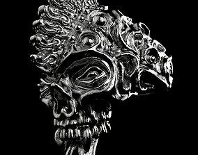 Badass Gothic Punk Skull Ring 3D CAD