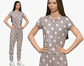 3D model 001140 woman in pijama with dots