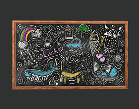 Funny Chalkboard Game Ready 3D asset