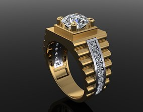Signet Rolex Link Two Tone Ring Band 3D printable model 1