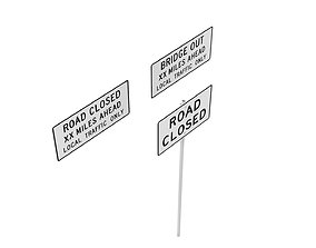 Road Sign US R11 Series Road Closed 3D