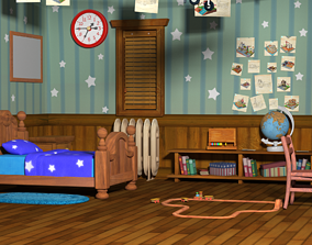 3D cartoon children room bed room animation scene