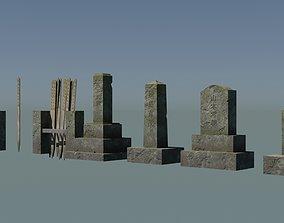 3D model game-ready Japanese Gravestones