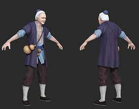 Old Man in Ancient China 3D model game-ready