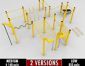 Street workout park gym low poly 3D asset