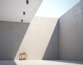 White smooth concrete wall texture large surface 3D model