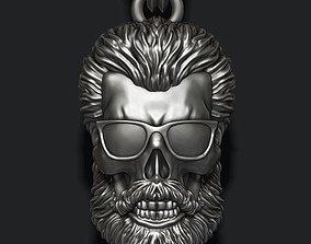 Bearded skull pendant with sunglass 3D print model