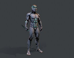 Cyber assassin 3D model low-poly