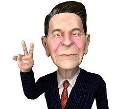 3D asset Ronald Raegan caricature rigged animated Unity