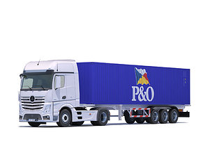 3D model Actros MP4 with 10 Containers