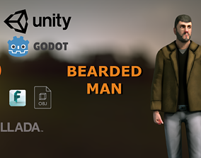 3D model Casual Style- Bearded Man - Animated Low-Poly