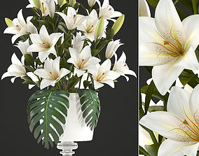 3D bouquet of white lilies