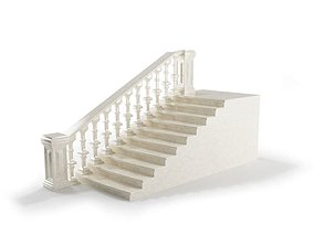 3D model White Marble Railing staircase