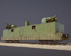 3D asset Armored Train PL-37 Railway Light Artillery