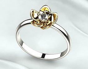 3D print model Single 3mm Gemstone Flower Gold Ring