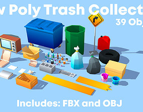Low Poly Collection - Trash Props 3D asset