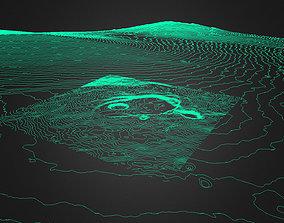 contour Mt Kilauea Crater Contour 3D