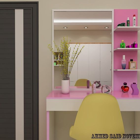 Colorful pink bedroom