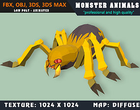 3D model Low Poly Spider Monster 32 Animated - Game Ready