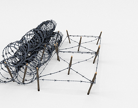 3D model wire Low Poly Barb Wire Obstacle