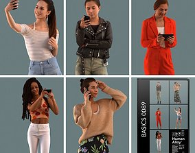 character Set of 3D women on the phone