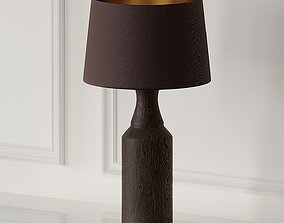Pair of Lamps with Wood Foot and Brown Lampshade 3D