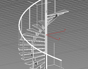 wood 3D spiral staircase