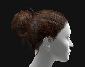 low-poly 3D Hair Female Straight Bun Hairstyle