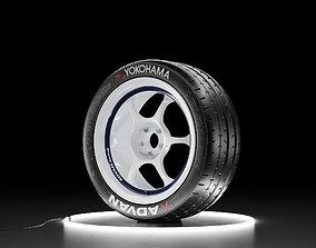3D asset Car wheel Yokohama A052 tire with ADVAN RG I rim