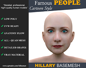 Low poly Character Cartoon Basemesh - Hillary 3D asset