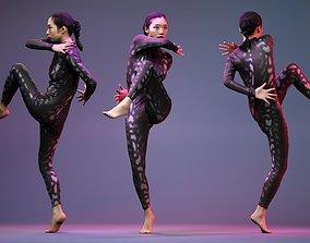 Model dancing in Snake Pattern Catsuit realtime