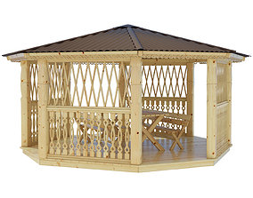 Garden Gazebo pergola with corner bench 3D model