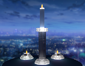 Set candlesticks frosted glass matt glass Classic 3D asset