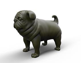 fat stocky doggie dog Pug 3D printable model