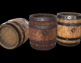 3D model realtime PBR Wooden barrel
