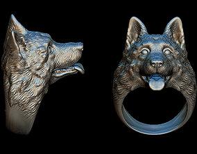 German Shepherd ring 3D print model