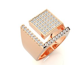 High Jewelry Grooms Gents Mens Cocktail ring 3dm stl 1