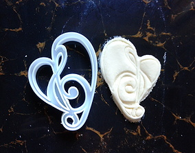 musical heart cookie cutter 3D print model