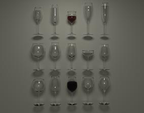 3D model Wine glasses - 15 common types