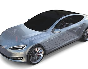 Tesla Model S 2016 Silver with Chassis