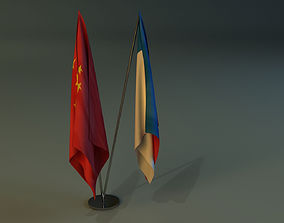Flag stand two 3D model