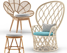Rattan and Wicker Chairs Collection II 3D