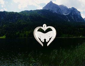 Sindarin Elvish Inscribed Butterfly Heart 3D print model
