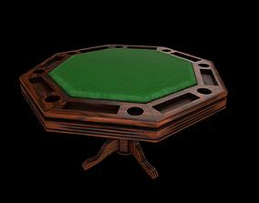 Octagonal wooden table for Poker - card games 3D model