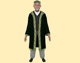 3D asset rigged Asian Nomad Old Man Rig