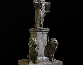 Old statue with two lions 3D asset