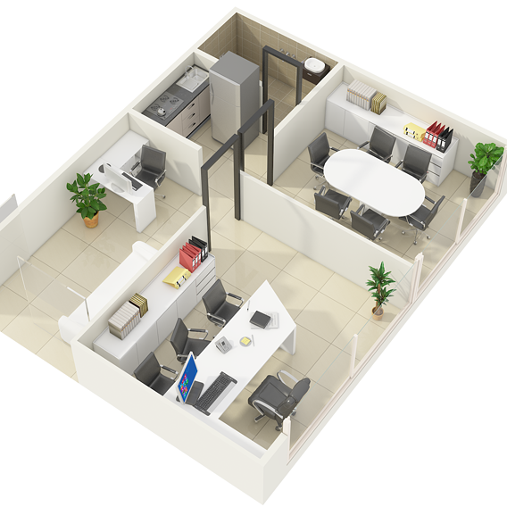 3D Floor Plan Rendering Services for Office