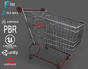 Old Rusty Metal Shopping Cart 3D asset