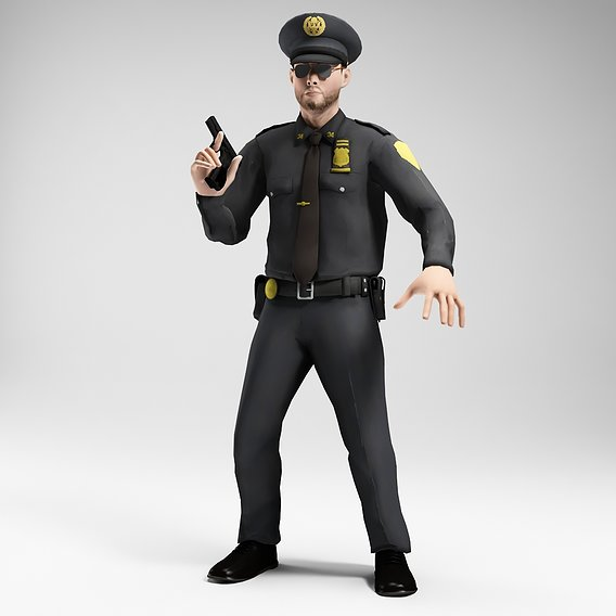 polieman gun in hand ready to shoot low poly character 14